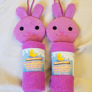 4/$25 NWT 2 Purple Bunny Microfiber Hand Towels